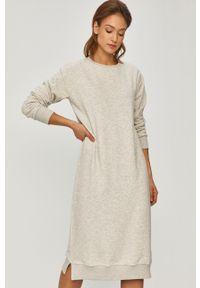 Szara sukienka Answear Lab wakacyjna, z długim rękawem, midi