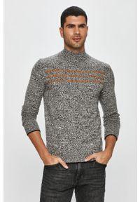 Szary sweter Calvin Klein melanż, długi, casualowy