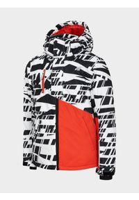 Biała kurtka narciarska 4f na zimę, z kapturem