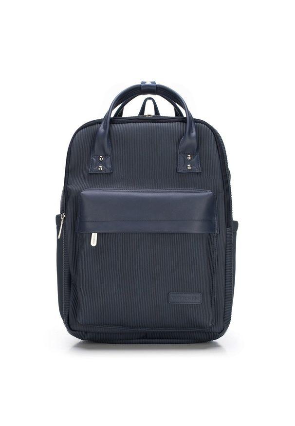"""Wittchen - Męski plecak z kieszenią na laptopa 15,6"""" metaliczny. Kolor: niebieski. Materiał: nylon. Wzór: paski"""