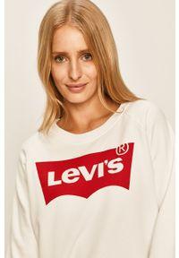 Biała bluza Levi's® biznesowa, z okrągłym kołnierzem, z nadrukiem