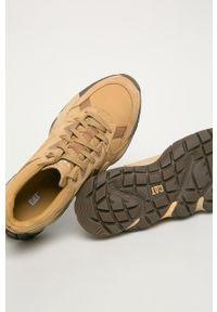 Beżowe sneakersy CATerpillar z cholewką, na sznurówki