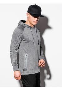 Ombre Clothing - Bluza męska z kapturem B1080 - szary melanż - XXL. Typ kołnierza: kaptur. Kolor: szary. Materiał: poliester, bawełna. Wzór: melanż