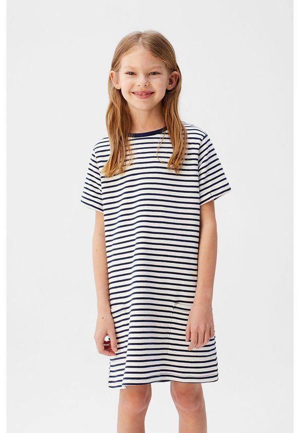 Niebieska sukienka Mango Kids casualowa, na co dzień, prosta, mini