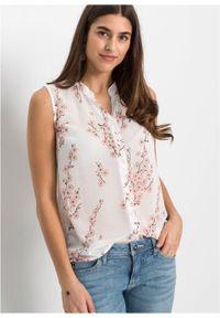 Bluzka szyfonowa z poliestru z recyklingu bonprix biały w kwiaty. Kolor: biały. Materiał: poliester, szyfon. Wzór: kwiaty