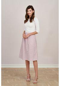 Marie Zélie - Spódnica Helle oxford w biało-różowy prążek. Kolor: biały, różowy, wielokolorowy. Materiał: bawełna, materiał. Wzór: prążki