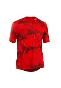 ROCKRIDER - Koszulka krótki rękaw na rower MTB ST 500 męska. Kolor: czarny, wielokolorowy, czerwony. Materiał: tkanina, materiał. Długość rękawa: krótki rękaw. Długość: krótkie. Sezon: lato. Sport: kolarstwo