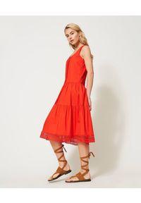 Czerwona sukienka TwinSet klasyczna, midi, bez rękawów