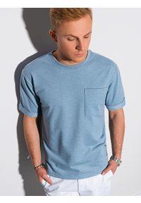 Ombre Clothing - T-shirt męski z nadrukiem S1371 - niebieski - XXL. Kolor: niebieski. Materiał: bawełna, dzianina, poliester. Wzór: nadruk