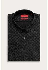 Czarna koszula Hugo z klasycznym kołnierzykiem, długa, klasyczna