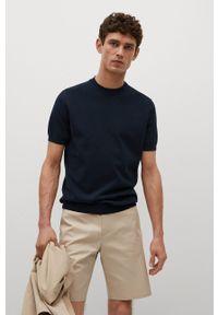 Mango Man - T-shirt Technoc. Okazja: na co dzień. Kolor: niebieski. Materiał: dzianina, skóra, materiał. Wzór: gładki. Styl: casual
