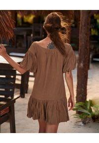 BY CABO - Sukienka Taormina. Kolor: brązowy. Materiał: len, wiskoza. Typ sukienki: bombki. Styl: wakacyjny