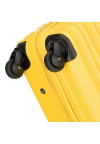 Wittchen - Walizka kabinowa z ABS-u z żebrowaniem. Kolor: żółty. Materiał: guma