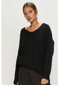 Czarny sweter Roxy długi, z długim rękawem, na co dzień, casualowy