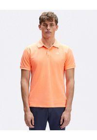 North Sails - NORTH SAILS - Pomarańczowa koszulka polo z haftowanym logo. Typ kołnierza: polo. Kolor: pomarańczowy. Materiał: bawełna. Wzór: haft