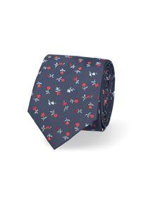 Lancerto - Krawat Granatowy w Kwiatki. Kolor: niebieski. Materiał: tkanina, mikrofibra, materiał. Wzór: kwiaty. Styl: elegancki