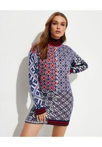 GOLDEN GOOSE - Patchworkowa sukienka mini. Typ kołnierza: golf. Kolor: czerwony. Materiał: żakard, materiał. Typ sukienki: dopasowane. Długość: mini