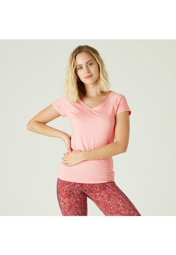 NYAMBA - Koszulka fitness slim. Kolor: różowy. Materiał: elastan, poliester, materiał, lyocell, bawełna. Długość rękawa: krótki rękaw. Długość: krótkie. Wzór: ze splotem. Sport: fitness