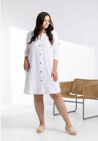 Moda Size Plus Iwanek - Biała sukienka Alta XXL OVERSIZE LATO. Okazja: na co dzień. Kolor: biały. Materiał: tkanina, elastan, bawełna. Sezon: lato. Typ sukienki: oversize. Styl: klasyczny, elegancki, casual