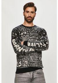 Czarny sweter Desigual z długim rękawem, na co dzień, długi, casualowy