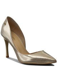 Złote szpilki Maccioni eleganckie, z cholewką