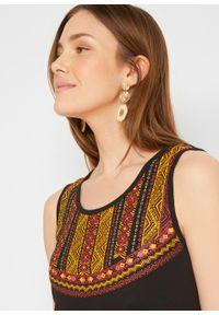 Sukienka ciążowa z bawełny organicznej bonprix czarny. Kolekcja: moda ciążowa. Kolor: czarny. Materiał: bawełna. Wzór: aplikacja