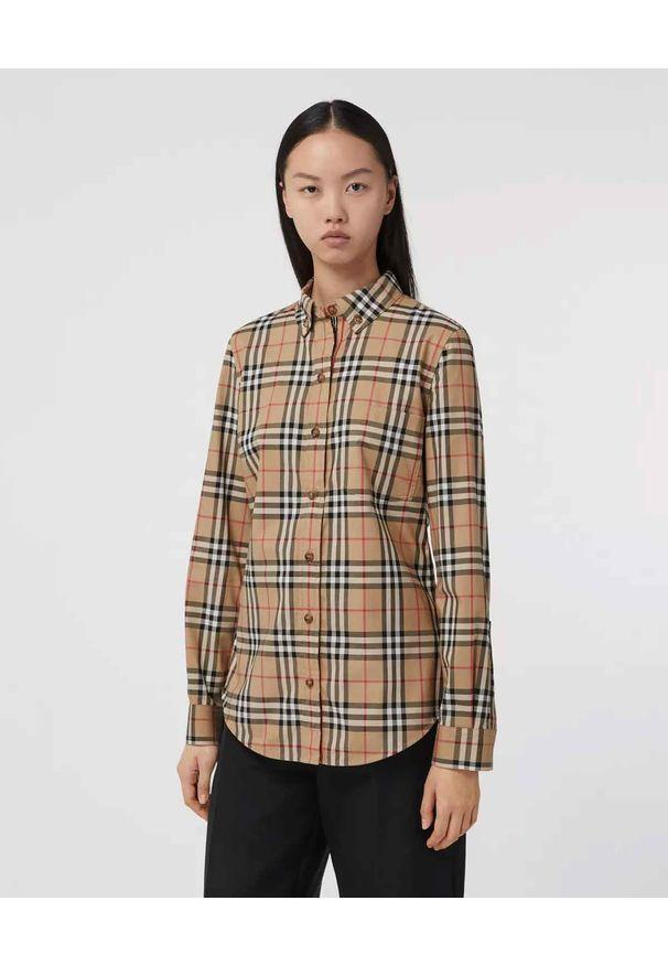 Burberry - BURBERRY - Koszula w kratkę vintage. Kolor: beżowy. Materiał: bawełna. Wzór: kratka. Styl: vintage