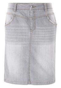 Spódnica dżinsowa ze stretchem bonprix szary. Kolor: szary
