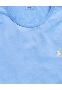 Niebieski t-shirt Ralph Lauren polo, z haftami, na co dzień, casualowy