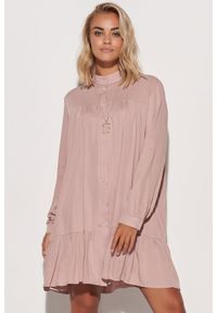 Różowa sukienka Makadamia koszulowa