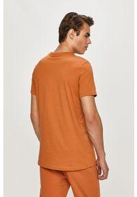 Brązowy t-shirt Fila casualowy, gładki, na co dzień