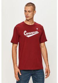 Brązowy t-shirt Converse z okrągłym kołnierzem, casualowy, z nadrukiem, na co dzień