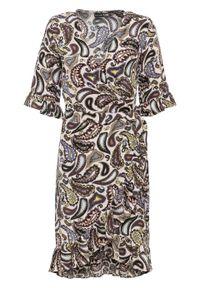 Beżowa sukienka bonprix kopertowa, z kopertowym dekoltem