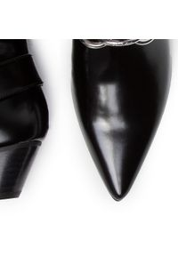 Czarne botki Calvin Klein na średnim obcasie, z aplikacjami, na obcasie
