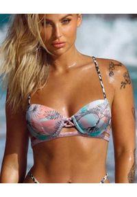 DEL MAAR - Top od bikini Niraq. Kolor: niebieski. Materiał: materiał. Wzór: kwiaty
