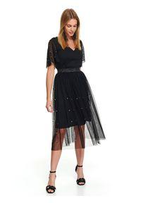Czarna spódnica TOP SECRET na jesień, krótka, elegancka, w kolorowe wzory