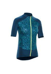 TRIBAN - Koszulka Krótki Rękaw Na Rower 500 Terrazzo Damska. Kolor: zielony, wielokolorowy, niebieski, turkusowy, żółty. Długość rękawa: krótki rękaw. Długość: krótkie. Sport: kolarstwo