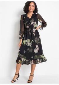 Czarna sukienka bonprix w kwiaty, midi