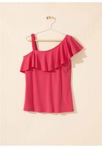 """Top shirtowy z falbaną bonprix różowy """"pinklady"""". Kolor: różowy"""