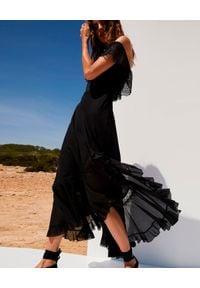 Czarna sukienka w koronkowe wzory, asymetryczna
