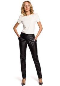 MOE - Czarne Eleganckie Spodnie Rurki z Eko-skóry. Kolor: czarny. Materiał: skóra. Styl: elegancki