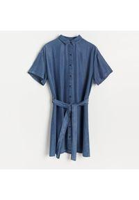 Reserved - Sukienka z Tencel™ Lyocellu - Granatowy. Kolor: niebieski