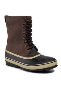 Brązowe buty zimowe sorel z cholewką, klasyczne