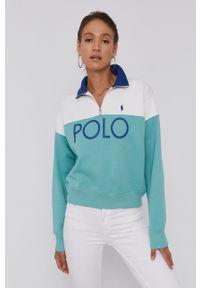 Polo Ralph Lauren - Bluza. Typ kołnierza: polo. Kolor: biały. Długość rękawa: długi rękaw. Długość: krótkie. Wzór: aplikacja, nadruk
