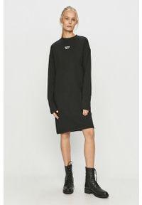 Czarna sukienka Reebok Classic mini, oversize, z długim rękawem