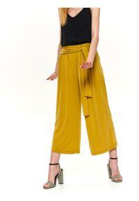 Żółte spodnie TOP SECRET na jesień, na co dzień, w kolorowe wzory