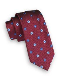 Alties - Ciemny Czerwony Klasyczny Męski Krawat -ALTIES- 6cm, w Granatowo-Niebieskie Kwiatki. Kolor: niebieski, czerwony, wielokolorowy. Materiał: tkanina. Wzór: kwiaty. Styl: klasyczny