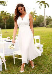 Sukienka szyfonowa z cekinami bonprix biel wełny. Okazja: na ślub cywilny, na wesele. Typ kołnierza: dekolt gorset. Kolor: biały. Materiał: wełna, szyfon. Typ sukienki: gorsetowe. Styl: elegancki #7