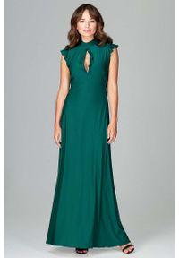 Zielona sukienka na wesele Katrus maxi, z falbankami