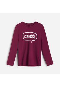 Fioletowa koszulka z długim rękawem Reserved z napisami